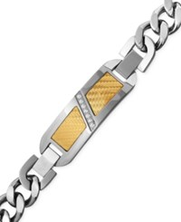 Macy's Men's Diamond 1 10 Ct. T.W. Decorative Plate Heavy Link Bracelet In Stainless Steel With 18K Gold Inlay Multi