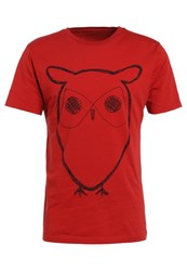 Knowledge Cotton Apparel Owl Print Tshirt Pompeain Red