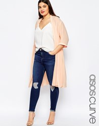 Asos Curve Longline Soft Blazer With Pleated Back Nude