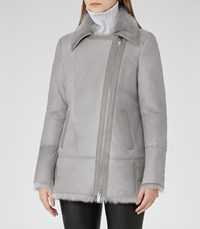 Reiss Nicole Womens Long Haired Shearling Coat In Grey