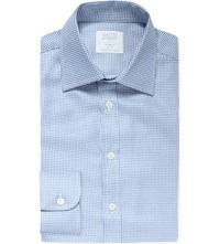 Smyth And Gibson Micro Chevron Print Tailored Fit Cotton Shirt Lt Blue