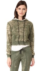 Cotton Citizen Milan Cropped Pullover Hoodie Sage Dust