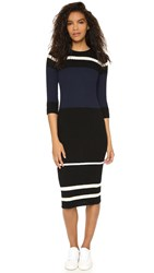 James Perse Knit Ribbed Striped Dress Black Cream Navy White