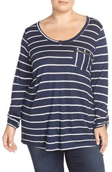 Plus Size Women's Junarose 'Camea' Zip Pocket Stripe Top