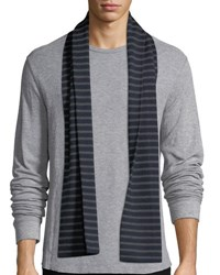 Vince Striped Ribbed Wool Scarf Coastal H Shadow