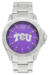 Jack Mason Brand 'Texas Christian University Horned Frogs' Bracelet Watch 44Mm Slver Purple