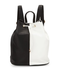Neiman Marcus Faux Leather Colorblock Drawstring Backpack Black White