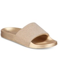 Inc International Concepts I.N.C. Metallic Slide Slippers Gold