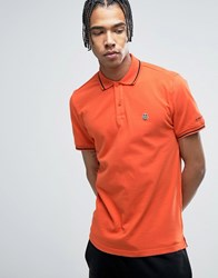 Love Moschino Tipped Polo Shirt With Chest Logo Orange