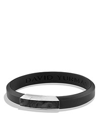 David Yurman Forged Carbon Rubber Id Bracelet In Black Black Silver