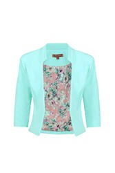 Jolie Moi Floral Print Lined Open Front Blazer Light Green