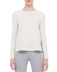 Akris Punto Boxy Long Sleeve Jersey Top Cream