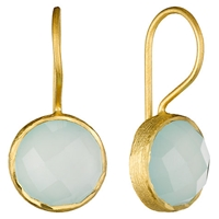 Pomegranate 18Ct Gold Vermeil Cupcake Drop Earrings Aqua Chalcedony
