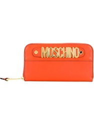 Moschino Logo Plaque Wallet Yellow And Orange