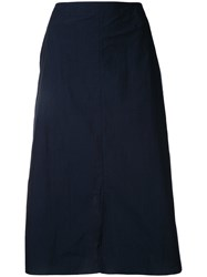 Julien David Mid Length A Line Skirt Women Cotton S Blue
