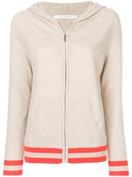 Chinti And Parker Striped Hem Zipped Hoodie Cashmere Unavailable