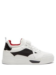 Christian Louboutin Aurelien Low Top Leather And Neoprene Trainers White
