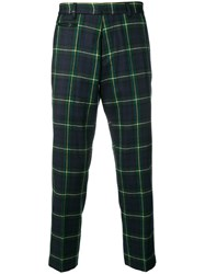 R 13 R13 Cropped Tartan Trousers Green