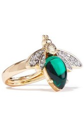 Kenneth Jay Lane Woman Gold Tone Stone And Crystal Ring Gold