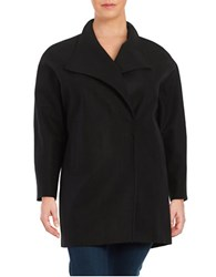 Jones New York Plus Wool Blend Oversized Collar Coat Black