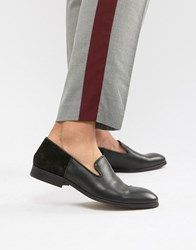 Zign Slipper Loafers In Black Leather And Suede