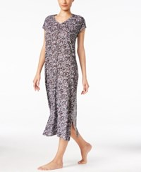 Dkny Short Sleeve Printed Maxi Nightgown White Print