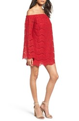 Fire Women's Off The Shoulder Lace Shift Dress Red