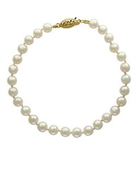 Effy 5.5 6Mm Akoya Pearls 14K Yellow Gold Bracelet White