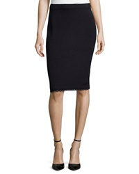 St. John Pull On Knit Pencil Skirt With Loop Trim Onyx