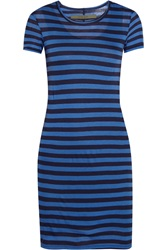 Enza Costa Striped Pima Cotton Jersey Mini Dress Blue