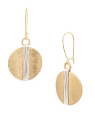 Robert Lee Morris Primal Connection Two Tone Wire Wrapped Circle Drop Earrings