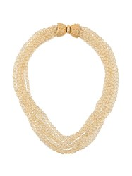 Valentino Vintage Beaded Necklace Gold
