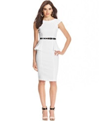 Xoxo Juniors' Cap Sleeve Peplum Sheath Dress White