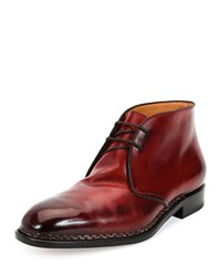 Salvatore Ferragamo Palermo 2 Tramezza Special Edition Burnished Calfskin Chukka Boot With Norwegian Welt Red Women's