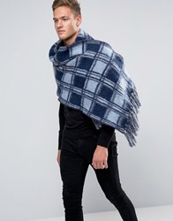Asos Check Scarf In Brushed Yarn In Blue Blue