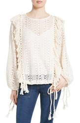 See By Chloe Women's Fishnet Lace And Fringe Top