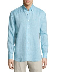 Salvatore Ferragamo Solid Linen Long Sleeve Sport Shirt Turquoise Men's
