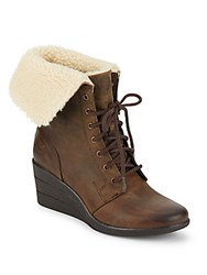 Ugg Faux Shearling Lined Leather Wedge Boots Stout