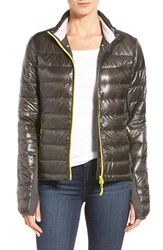 Women's Canada Goose 'Hybridge Lite' Slim Fit Mixed Media Down Jacket Graphite Solar Yellow
