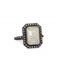 Armenta Old World Midnight Opal And Ice Quartz Triplet Ring With Diamonds Silver
