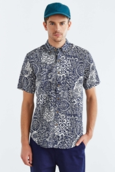 Vanishing Elephant Printed Short Sleeve Button Down Shirt Tan