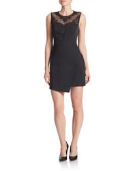 Bcbgmaxazria Floral Lace Yoke Peplum Dress Black