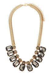 Forever 21 Faux Gemstone Statement Necklace Antic Gold Grey