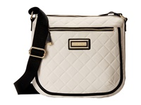 Calvin Klein Quilted Nylon Messenger Off White Black Messenger Bags