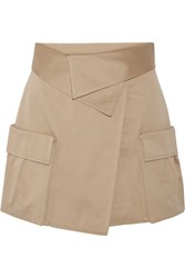 Monse Cotton Canvas Wrap Mini Skirt Mushroom