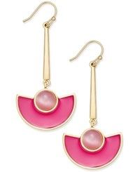 Kate Spade New York 14K Gold Plated Cat's Eye Stone And Pink Enamel Drop Earrings
