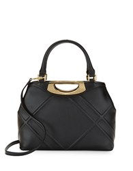Calvin Klein Ouilted Leather Satchel Black