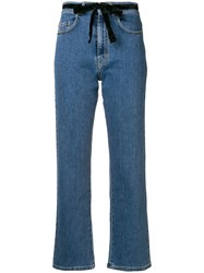 Isa Arfen Cropped Straight Leg Jeans Blue