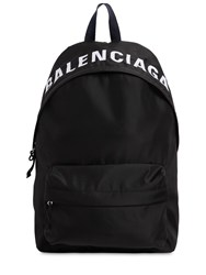 Balenciaga Logo Embroidered Nylon Backpack Black