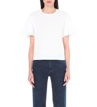 See By Chloe Ruffled Cotton Jersey T Shirt White